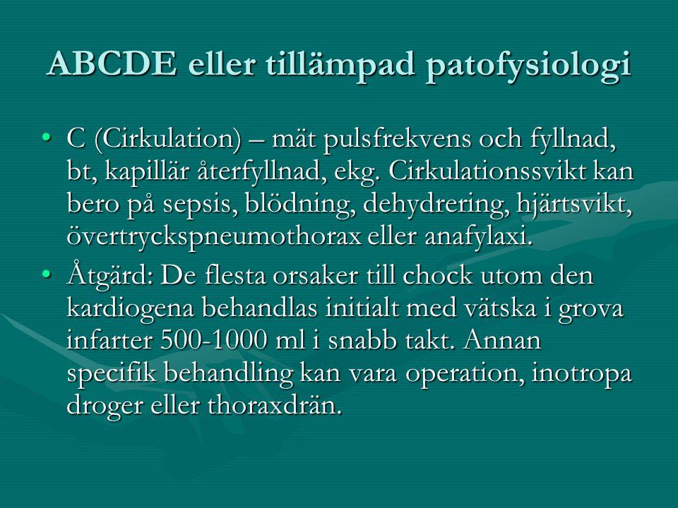 ABCDE eller tillämpad patofysiologi C (Cirkulation) – mät pulsfrekvens och fyllnad, bt, kapillär återfyllnad, ekg.