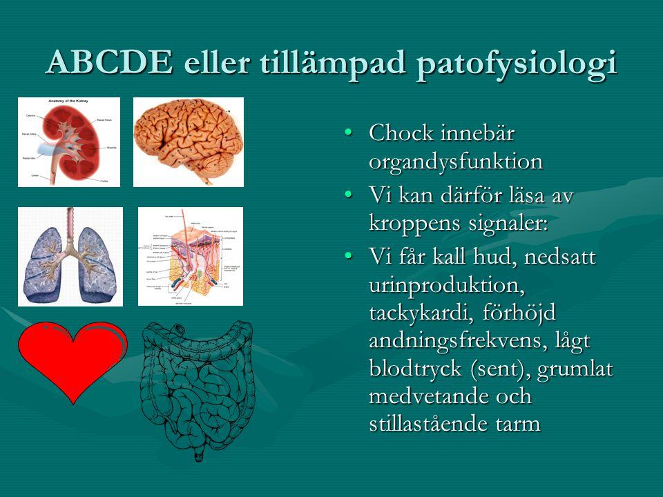 ABCDE eller tillämpad patofysiologi Chock innebär organdysfunktion Vi kan därför läsa av kroppens signaler: Vi får kall hud, nedsatt urinproduktion, tackykardi, förhöjd andningsfrekvens, lågt blodtryck (sent), grumlat medvetande och stillastående tarm
