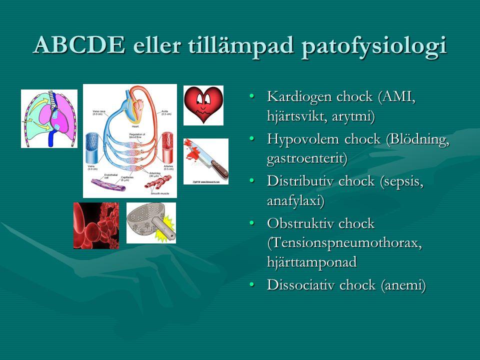 ABCDE eller tillämpad patofysiologi Kardiogen chock (AMI, hjärtsvikt, arytmi) Hypovolem chock (Blödning, gastroenterit) Distributiv chock (sepsis, anafylaxi) Obstruktiv chock (Tensionspneumothorax, hjärttamponad Dissociativ chock (anemi)