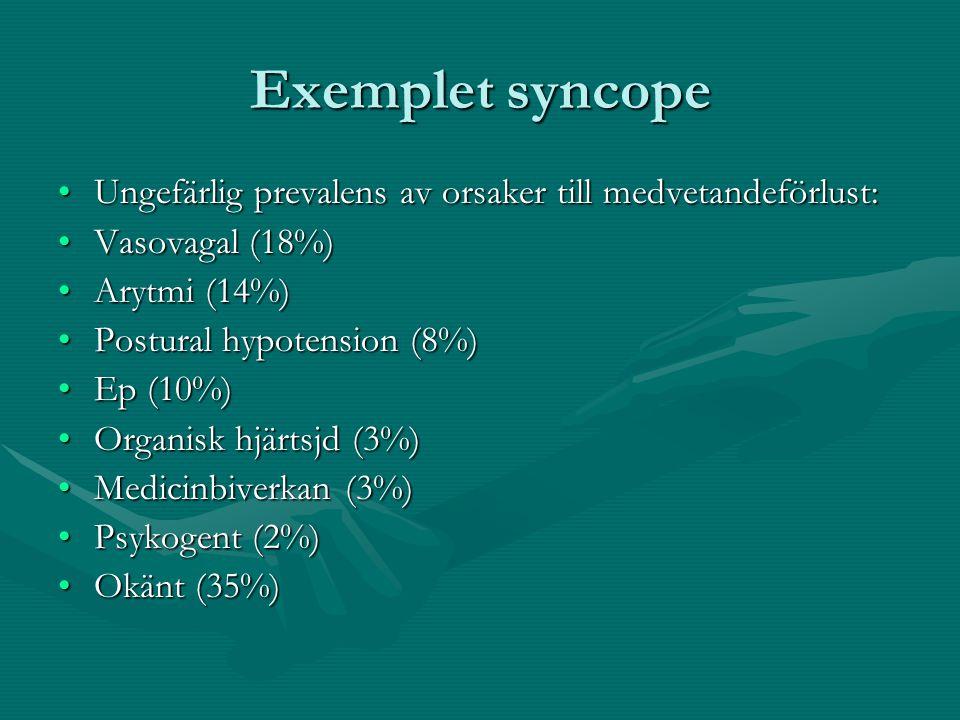 Exemplet syncope Ungefärlig prevalens av orsaker till medvetandeförlust:Ungefärlig prevalens av orsaker till medvetandeförlust: Vasovagal (18%)Vasovagal (18%) Arytmi (14%)Arytmi (14%) Postural hypotension (8%)Postural hypotension (8%) Ep (10%)Ep (10%) Organisk hjärtsjd (3%)Organisk hjärtsjd (3%) Medicinbiverkan (3%)Medicinbiverkan (3%) Psykogent (2%)Psykogent (2%) Okänt (35%)Okänt (35%)