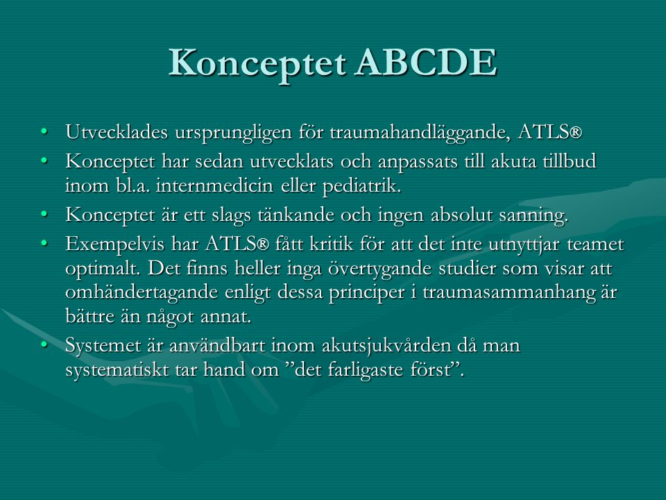 Demonstration ABCDE-konceptet