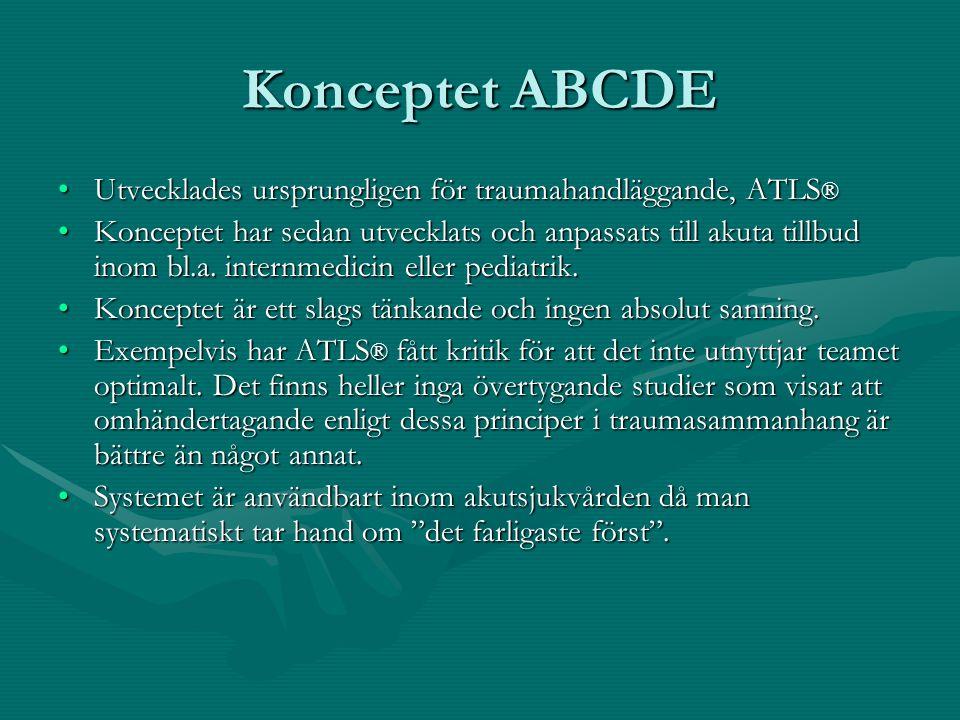 Konceptet ABCDE Utvecklades ursprungligen för traumahandläggande, ATLS ®Utvecklades ursprungligen för traumahandläggande, ATLS ® Konceptet har sedan utvecklats och anpassats till akuta tillbud inom bl.a.
