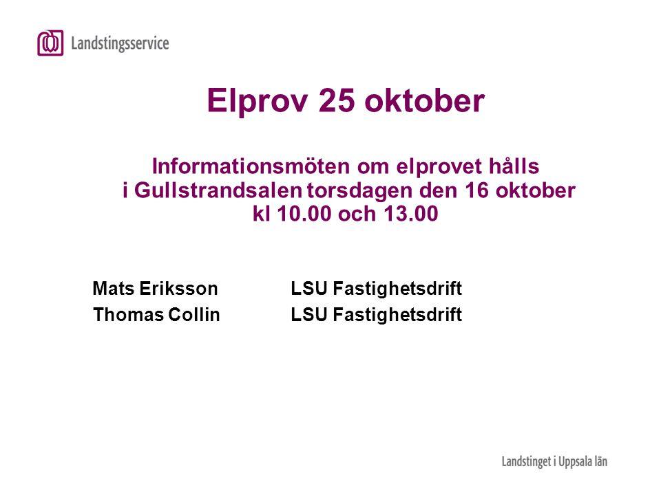 Elprov 25 oktober Informationsmöten om elprovet hålls i Gullstrandsalen torsdagen den 16 oktober kl 10.00 och 13.00 Mats ErikssonLSU Fastighetsdrift T