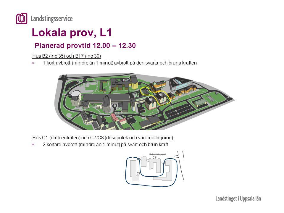Lokala prov, L1 Planerad provtid 12.00 – 12.30 Hus B2 (ing 35) och B17 (ing 30)  1 kort avbrott (mindre än 1 minut) avbrott på den svarta och bruna k