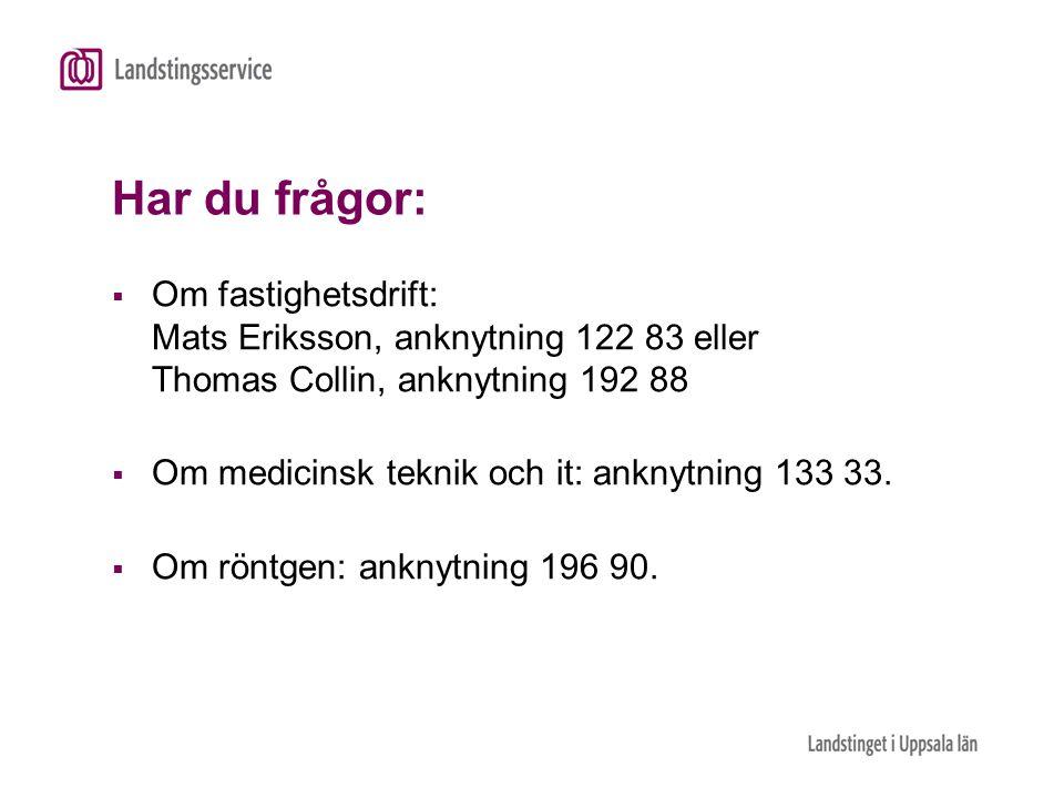 Har du frågor:  Om fastighetsdrift: Mats Eriksson, anknytning 122 83 eller Thomas Collin, anknytning 192 88  Om medicinsk teknik och it: anknytning