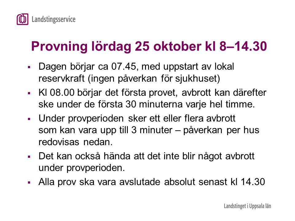 Provning lördag 25 oktober kl 8–14.30  Dagen börjar ca 07.45, med uppstart av lokal reservkraft (ingen påverkan för sjukhuset)  Kl 08.00 börjar det