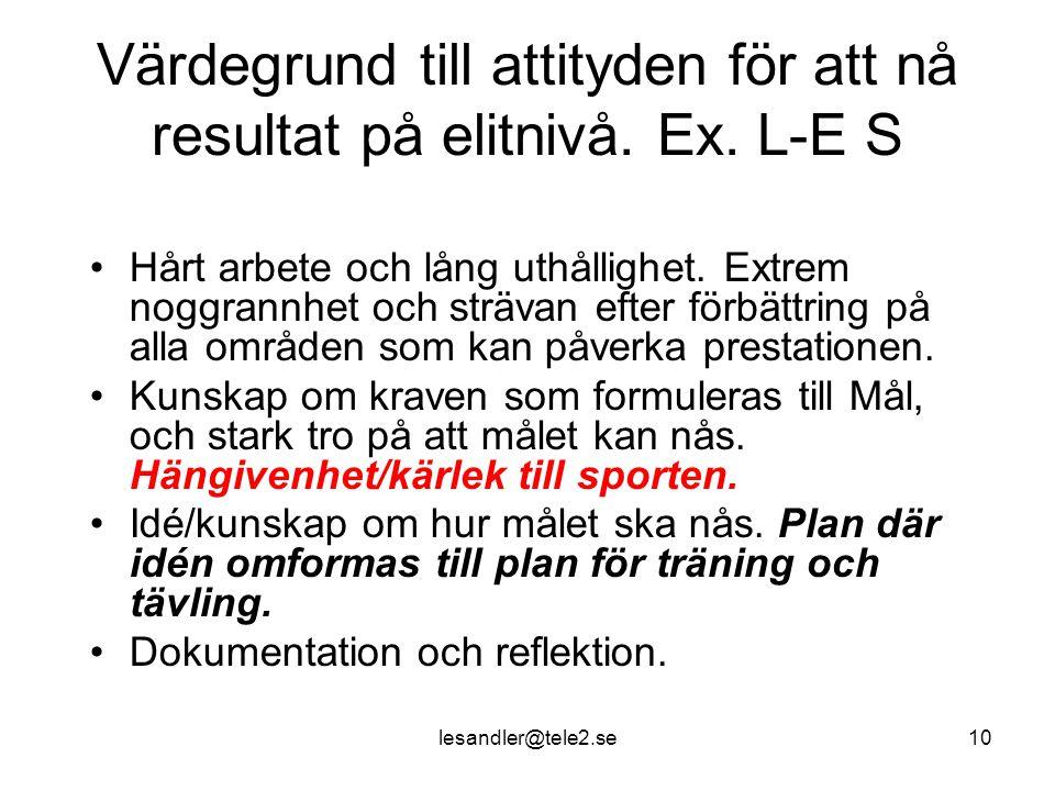 lesandler@tele2.se10 Värdegrund till attityden för att nå resultat på elitnivå.