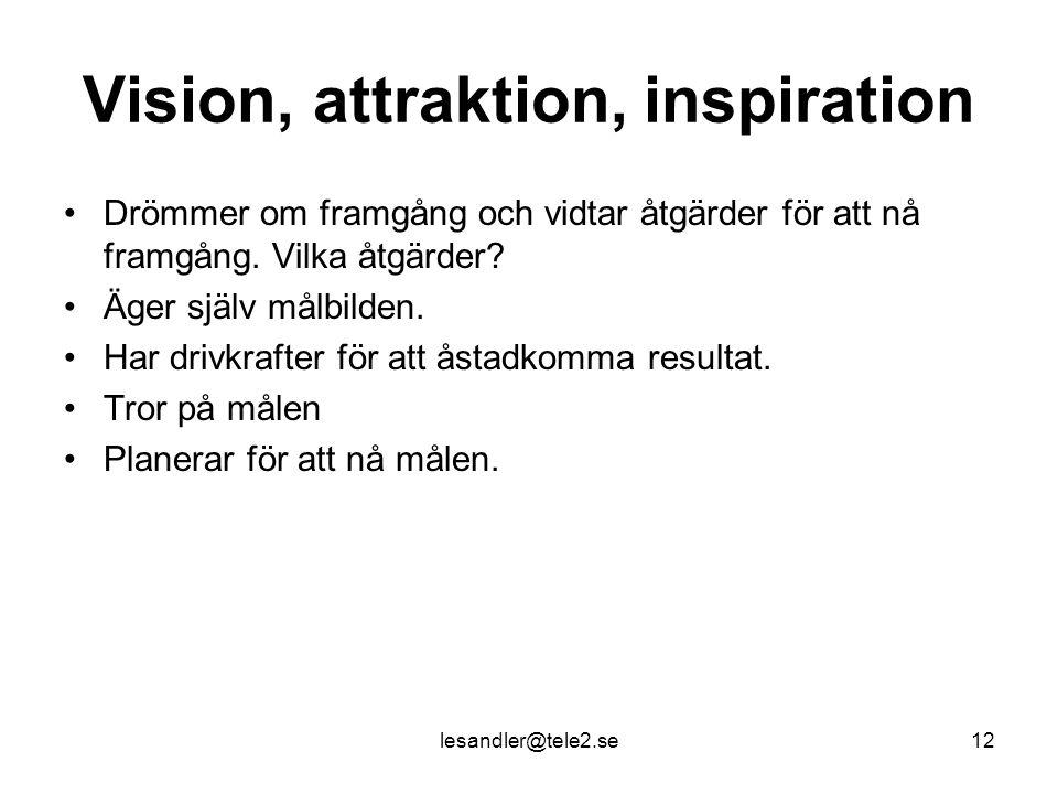 lesandler@tele2.se12 Vision, attraktion, inspiration Drömmer om framgång och vidtar åtgärder för att nå framgång.