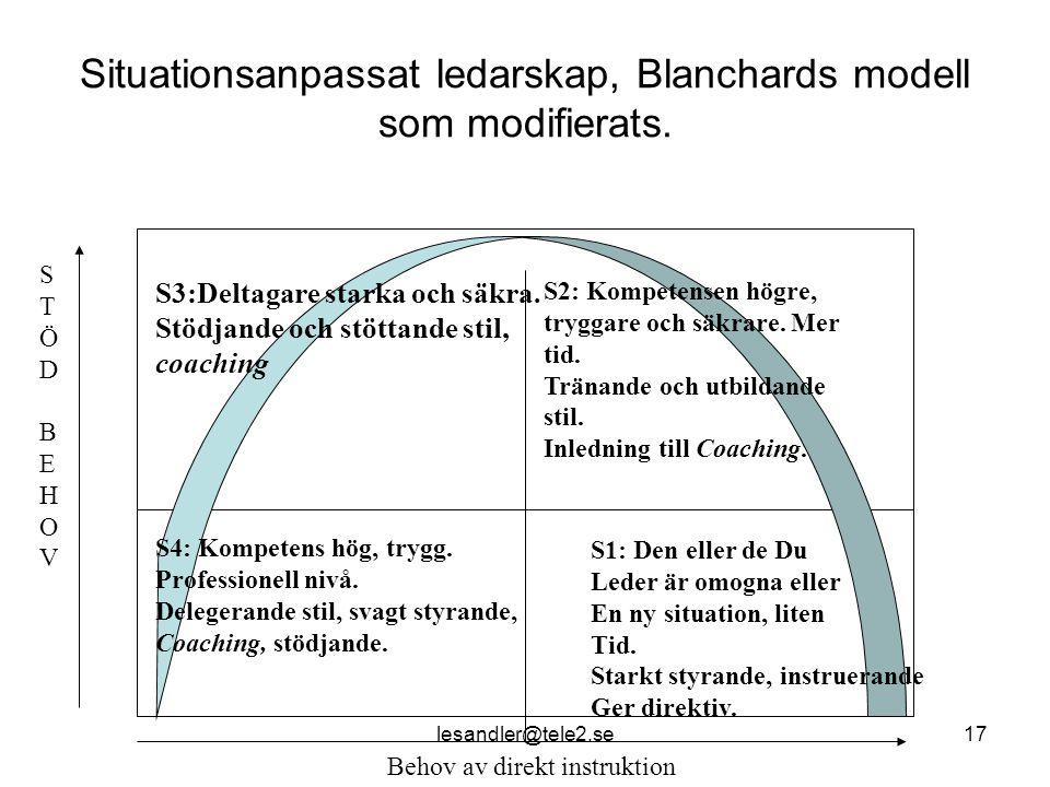 lesandler@tele2.se17 Situationsanpassat ledarskap, Blanchards modell som modifierats.