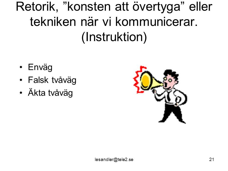 lesandler@tele2.se21 Retorik, konsten att övertyga eller tekniken när vi kommunicerar.