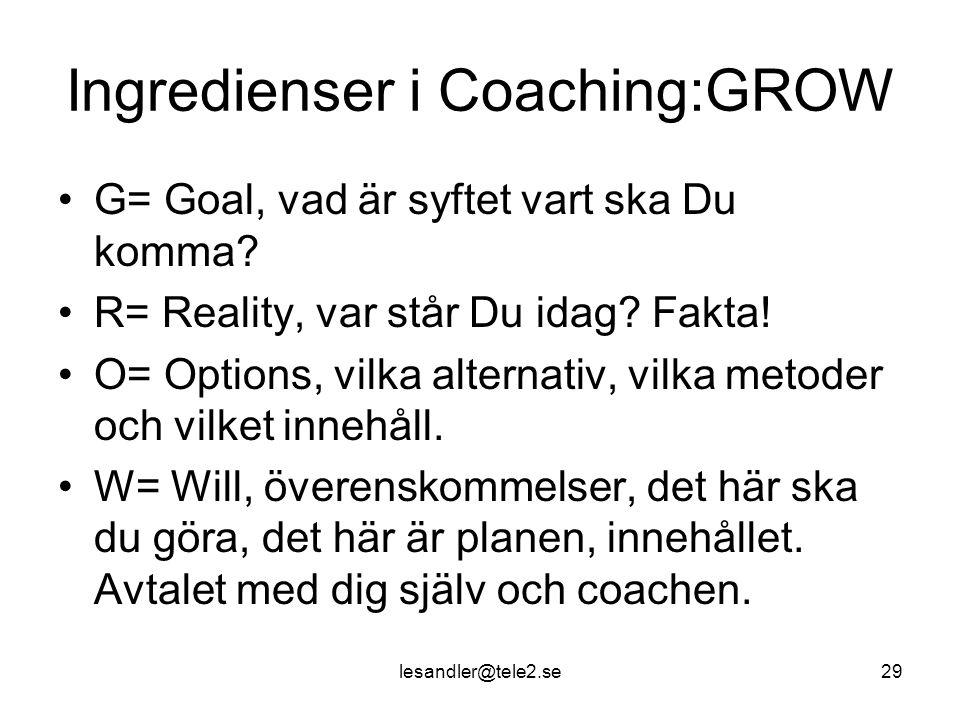 lesandler@tele2.se29 Ingredienser i Coaching:GROW G= Goal, vad är syftet vart ska Du komma.