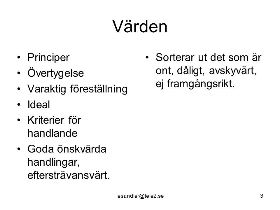 lesandler@tele2.se3 Värden Principer Övertygelse Varaktig föreställning Ideal Kriterier för handlande Goda önskvärda handlingar, eftersträvansvärt.