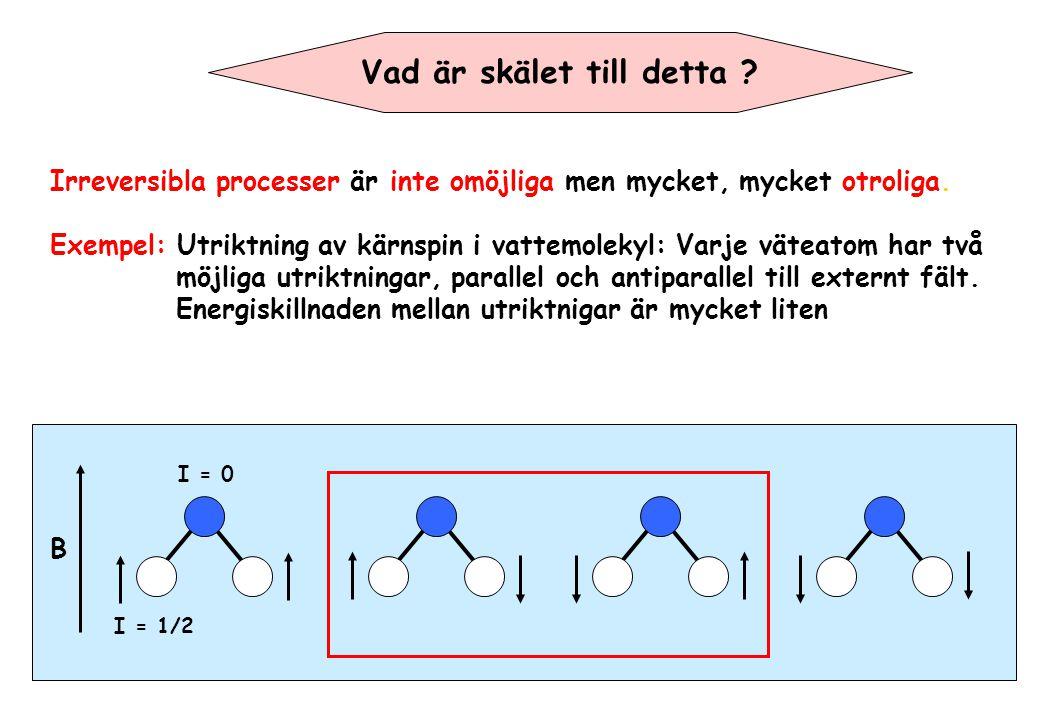 Vad är skälet till detta ? Irreversibla processer är inte omöjliga men mycket, mycket otroliga. Exempel: Utriktning av kärnspin i vattemolekyl: Varje