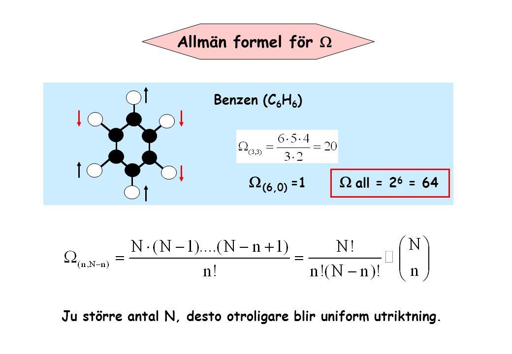 Ju större antal N, desto otroligare blir uniform utriktning. Benzen (C 6 H 6 )  (6,0)  =1   all = 2 6 = 64 Allmän formel för 