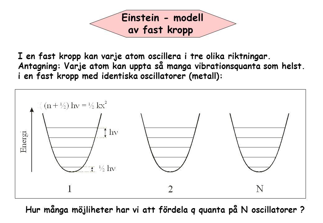 Einstein - modell av fast kropp I en fast kropp kan varje atom oscillera i tre olika riktningar. Antagning: Varje atom kan uppta så manga vibrationsqu