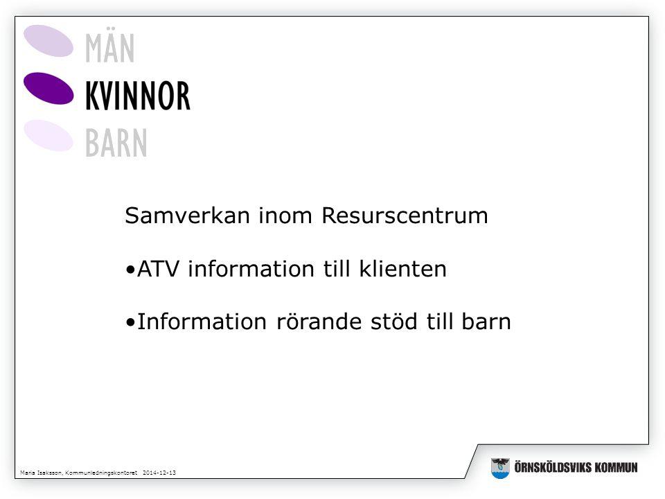 Maria Isaksson, Kommunledningskontoret 2014-12-13 Samverkan inom Resurscentrum ATV information till klienten Information rörande stöd till barn