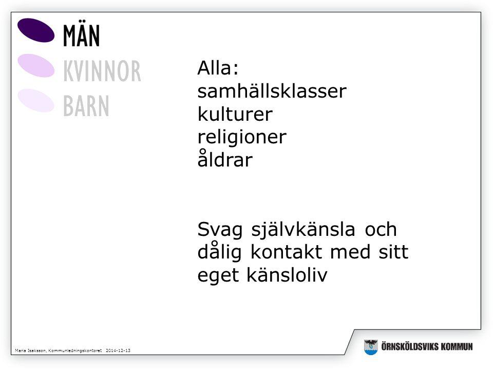 Maria Isaksson, Kommunledningskontoret 2014-12-13 Alla: samhällsklasser kulturer religioner åldrar Svag självkänsla och dålig kontakt med sitt eget kä