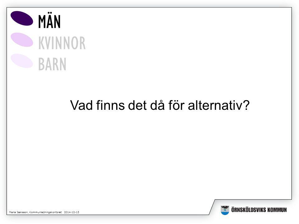 Maria Isaksson, Kommunledningskontoret 2014-12-13 Vad finns det då för alternativ