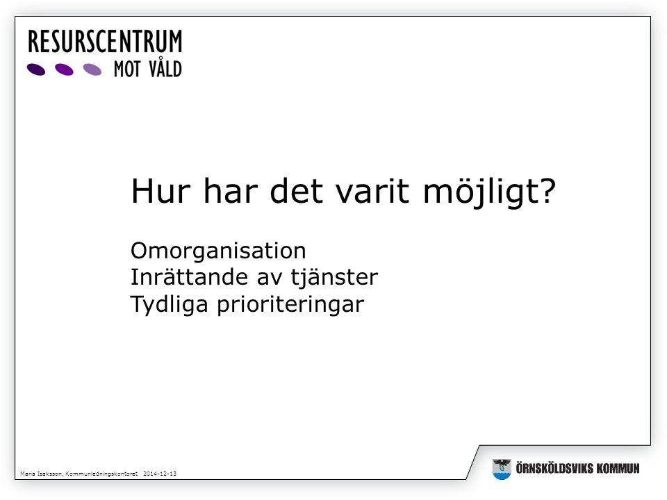 Maria Isaksson, Kommunledningskontoret 2014-12-13 Hur har det varit möjligt? Omorganisation Inrättande av tjänster Tydliga prioriteringar