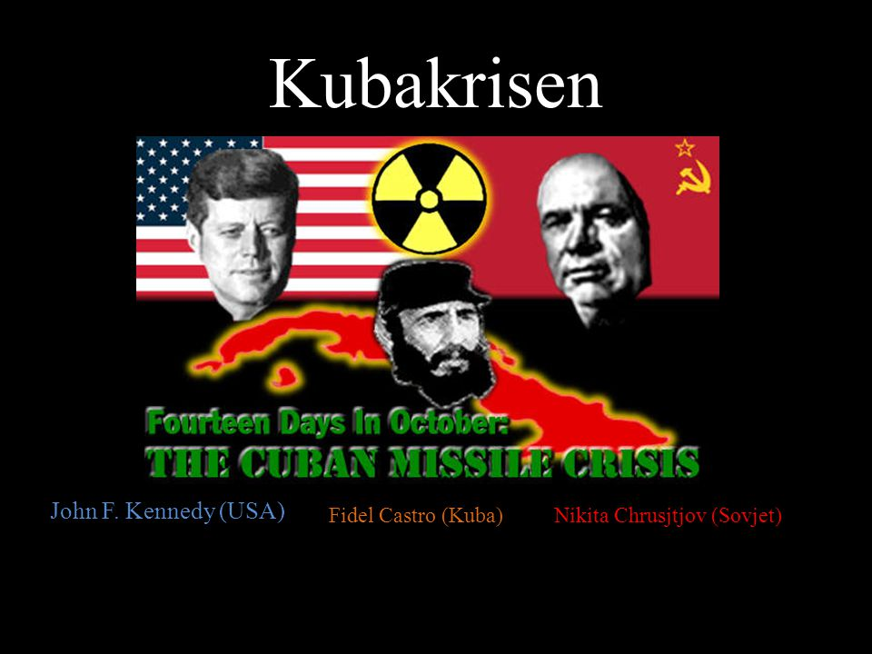 Kubakrisen John F. Kennedy (USA) Fidel Castro (Kuba)Nikita Chrusjtjov (Sovjet)