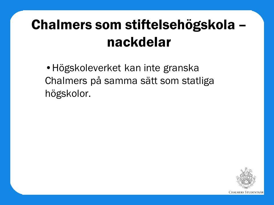 Chalmers som stiftelsehögskola – nackdelar Högskoleverket kan inte granska Chalmers på samma sätt som statliga högskolor.