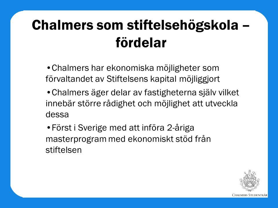 Chalmers som stiftelsehögskola – fördelar Chalmers har ekonomiska möjligheter som förvaltandet av Stiftelsens kapital möjliggjort Chalmers äger delar av fastigheterna själv vilket innebär större rådighet och möjlighet att utveckla dessa Först i Sverige med att införa 2-åriga masterprogram med ekonomiskt stöd från stiftelsen