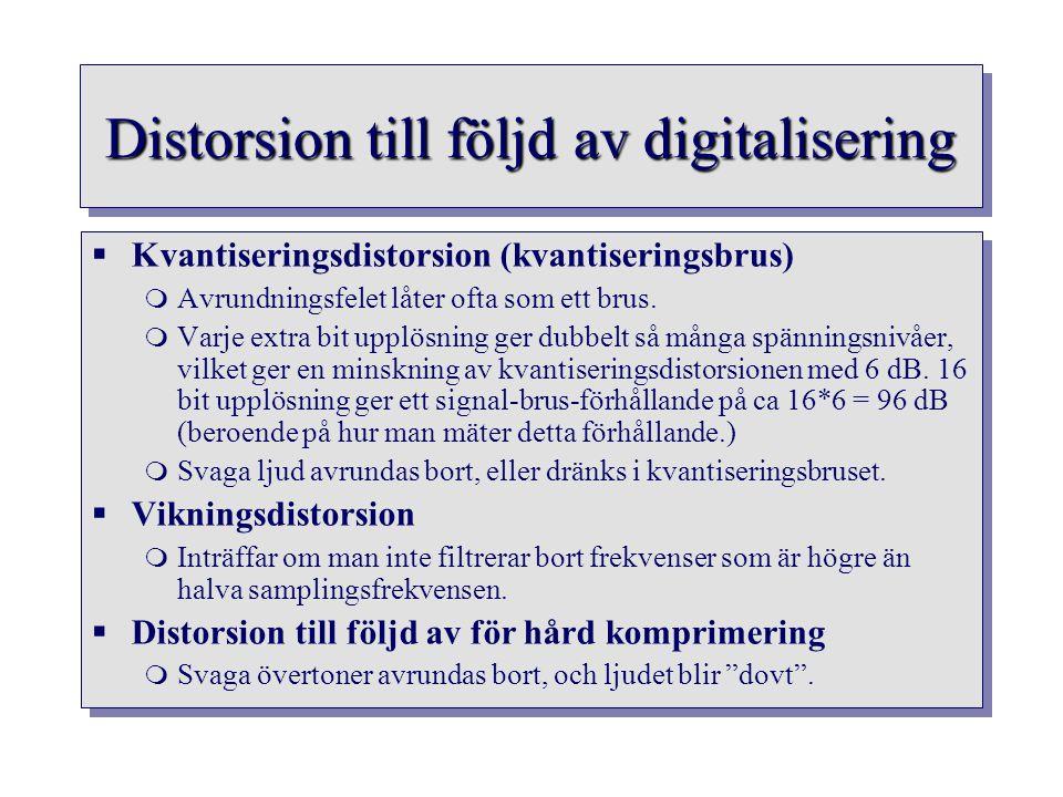 Distorsion till följd av digitalisering  Kvantiseringsdistorsion (kvantiseringsbrus)  Avrundningsfelet låter ofta som ett brus.  Varje extra bit up
