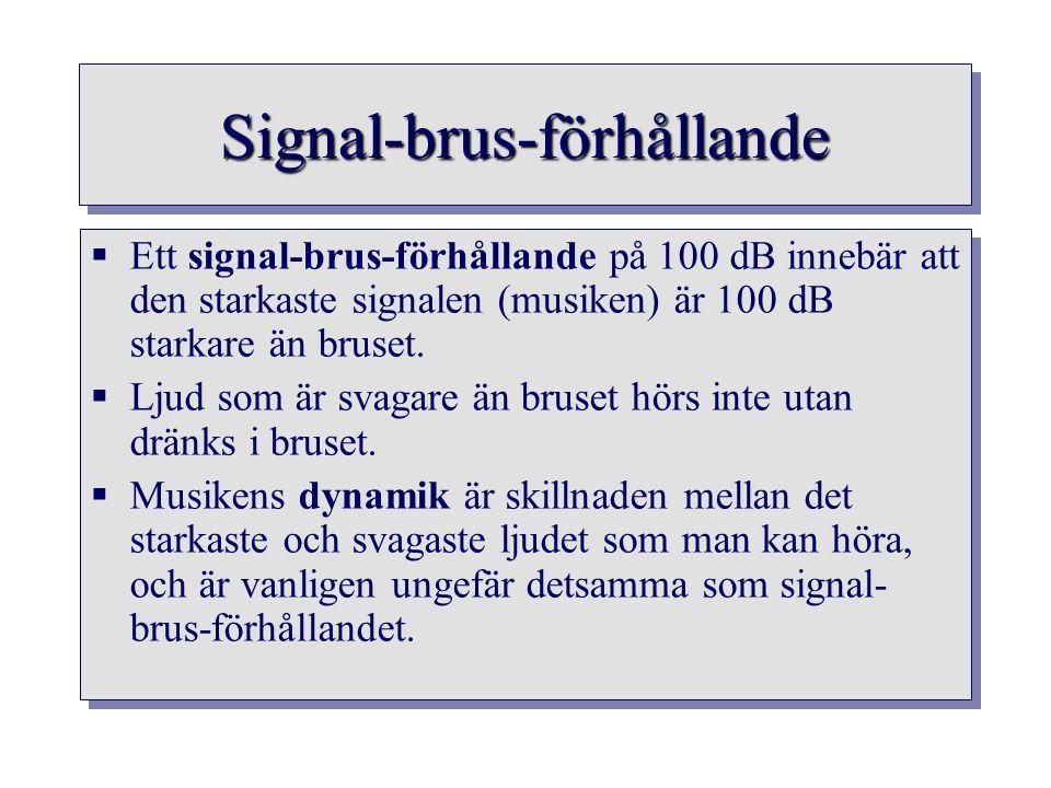 Signal-brus-förhållandeSignal-brus-förhållande  Ett signal-brus-förhållande på 100 dB innebär att den starkaste signalen (musiken) är 100 dB starkare