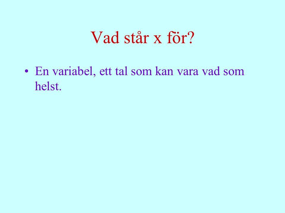 Vad står x för? En variabel, ett tal som kan vara vad som helst.