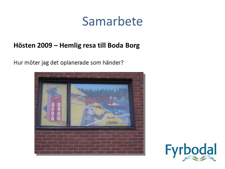 Samarbete Hösten 2009 – Hemlig resa till Boda Borg Hur möter jag det oplanerade som händer?