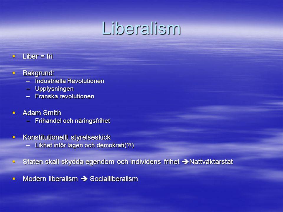 Liberalism  Liber = fri  Bakgrund: –Industriella Revolutionen –Upplysningen –Franska revolutionen  Adam Smith –Frihandel och näringsfrihet  Konsti
