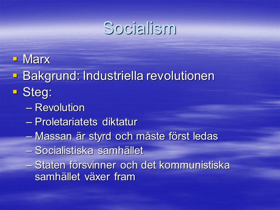 Socialism  Marx  Bakgrund: Industriella revolutionen  Steg: –Revolution –Proletariatets diktatur –Massan är styrd och måste först ledas –Socialisti