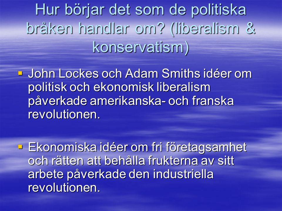 Hur börjar det som de politiska bråken handlar om? (liberalism & konservatism)  John Lockes och Adam Smiths idéer om politisk och ekonomisk liberalis