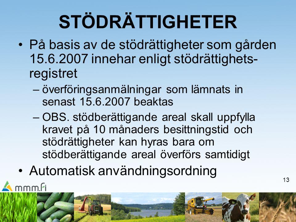 13 STÖDRÄTTIGHETER På basis av de stödrättigheter som gården 15.6.2007 innehar enligt stödrättighets- registret –överföringsanmälningar som lämnats in senast 15.6.2007 beaktas –OBS.