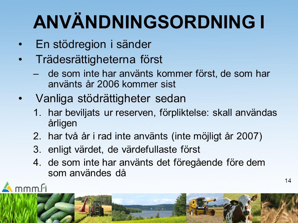 14 ANVÄNDNINGSORDNING I En stödregion i sänder Trädesrättigheterna först –de som inte har använts kommer först, de som har använts år 2006 kommer sist