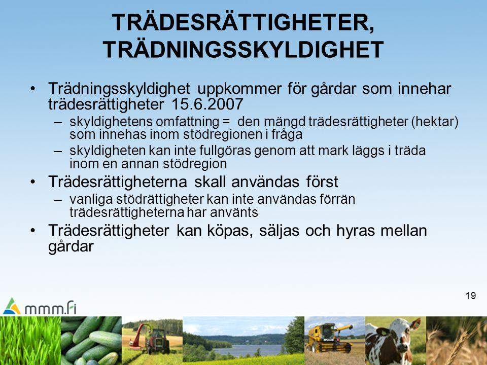 19 TRÄDESRÄTTIGHETER, TRÄDNINGSSKYLDIGHET Trädningsskyldighet uppkommer för gårdar som innehar trädesrättigheter 15.6.2007 –skyldighetens omfattning = den mängd trädesrättigheter (hektar) som innehas inom stödregionen i fråga –skyldigheten kan inte fullgöras genom att mark läggs i träda inom en annan stödregion Trädesrättigheterna skall användas först –vanliga stödrättigheter kan inte användas förrän trädesrättigheterna har använts Trädesrättigheter kan köpas, säljas och hyras mellan gårdar