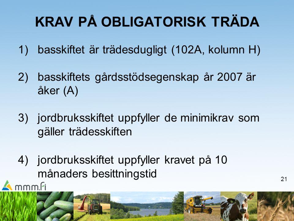 21 KRAV PÅ OBLIGATORISK TRÄDA 1)basskiftet är trädesdugligt (102A, kolumn H) 2)basskiftets gårdsstödsegenskap år 2007 är åker (A) 3)jordbruksskiftet uppfyller de minimikrav som gäller trädesskiften 4) jordbruksskiftet uppfyller kravet på 10 månaders besittningstid