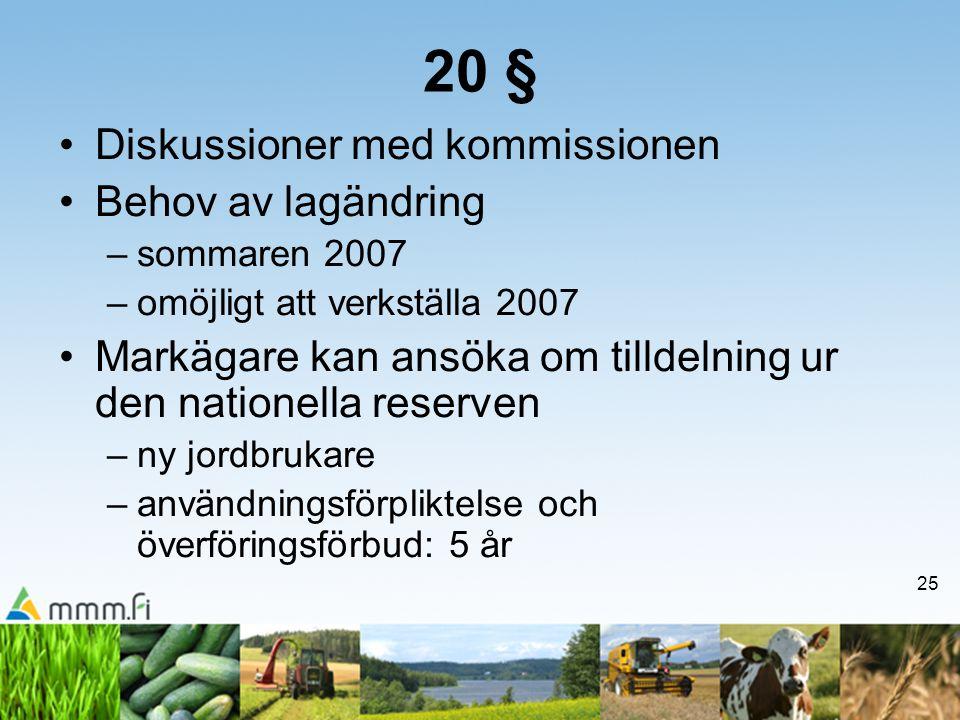 25 20 § Diskussioner med kommissionen Behov av lagändring –sommaren 2007 –omöjligt att verkställa 2007 Markägare kan ansöka om tilldelning ur den nationella reserven –ny jordbrukare –användningsförpliktelse och överföringsförbud: 5 år