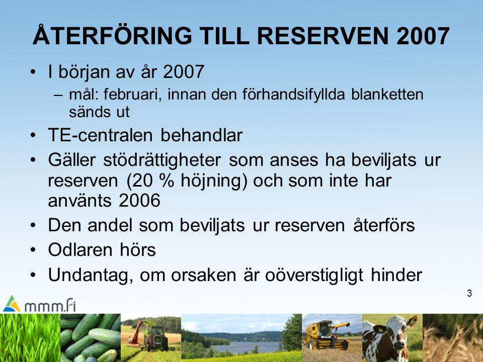 3 ÅTERFÖRING TILL RESERVEN 2007 I början av år 2007 –mål: februari, innan den förhandsifyllda blanketten sänds ut TE-centralen behandlar Gäller stödrättigheter som anses ha beviljats ur reserven (20 % höjning) och som inte har använts 2006 Den andel som beviljats ur reserven återförs Odlaren hörs Undantag, om orsaken är oöverstigligt hinder