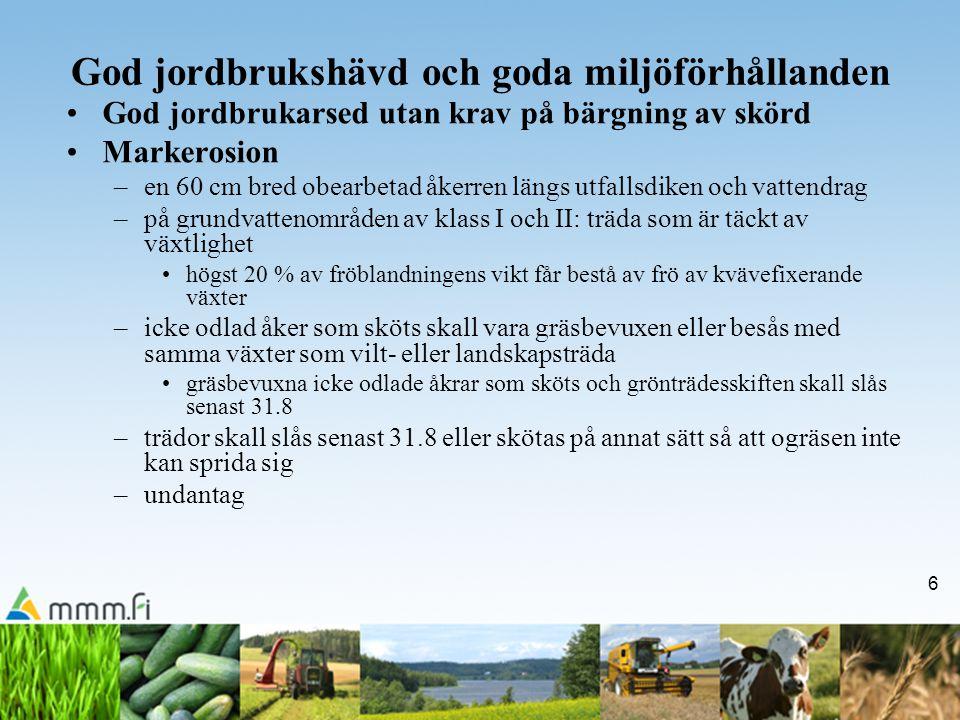 6 God jordbrukshävd och goda miljöförhållanden God jordbrukarsed utan krav på bärgning av skörd Markerosion –en 60 cm bred obearbetad åkerren längs ut