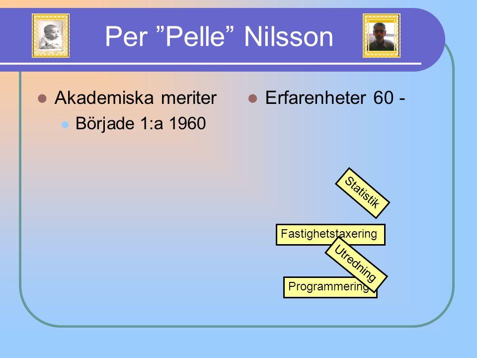 "Akademiska meriter Började 1:a 1960 Per ""Pelle"" Nilsson Erfarenheter 60 - Statistik Fastighetstaxering Programmering Utredning"