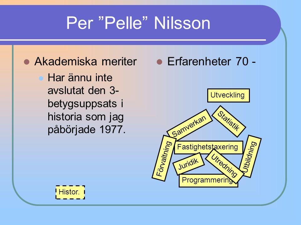 """Per """"Pelle"""" Nilsson Akademiska meriter Har ännu inte avslutat den 3- betygsuppsats i historia som jag påbörjade 1977. Erfarenheter 70 - Samverkan Stat"""