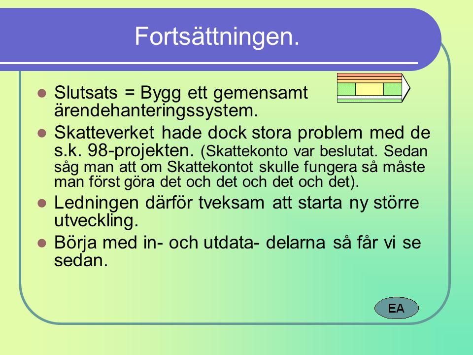 Fortsättningen. Slutsats = Bygg ett gemensamt ärendehanteringssystem. Skatteverket hade dock stora problem med de s.k. 98-projekten. (Skattekonto var