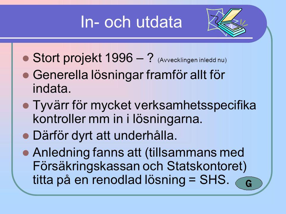 In- och utdata Stort projekt 1996 – ? (Avvecklingen inledd nu) Generella lösningar framför allt för indata. Tyvärr för mycket verksamhetsspecifika kon