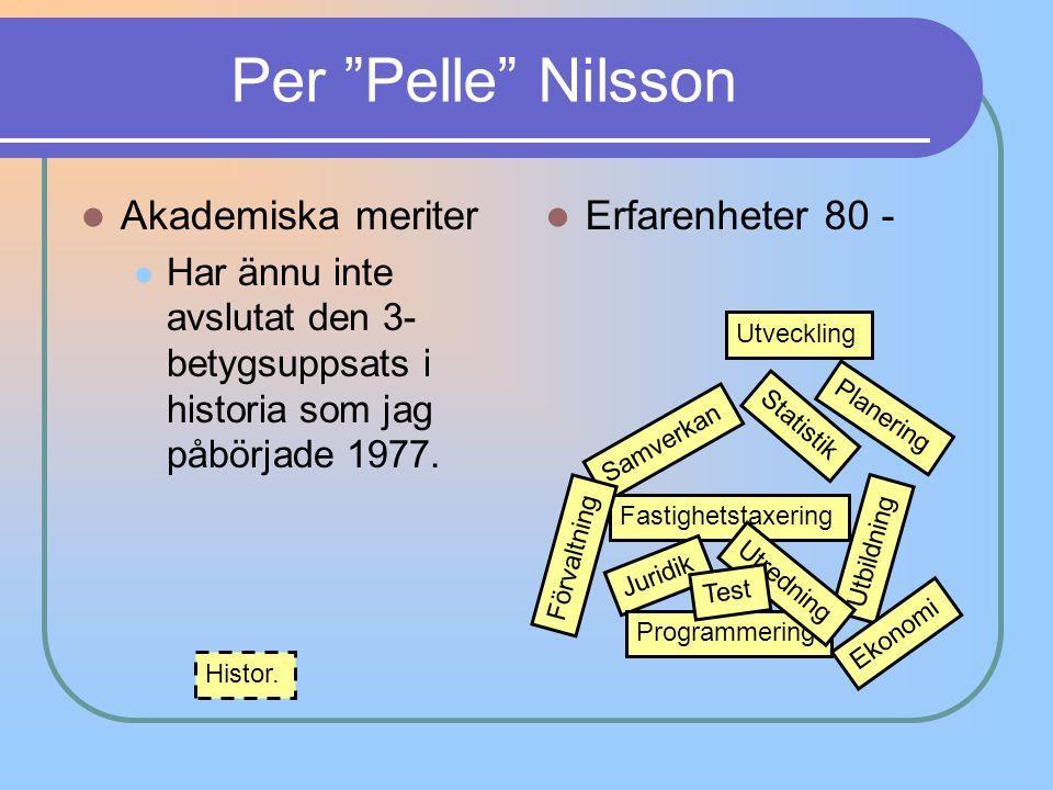 """Per """"Pelle"""" Nilsson Akademiska meriter Har ännu inte avslutat den 3- betygsuppsats i historia som jag påbörjade 1977. Erfarenheter 80 - Samverkan Stat"""