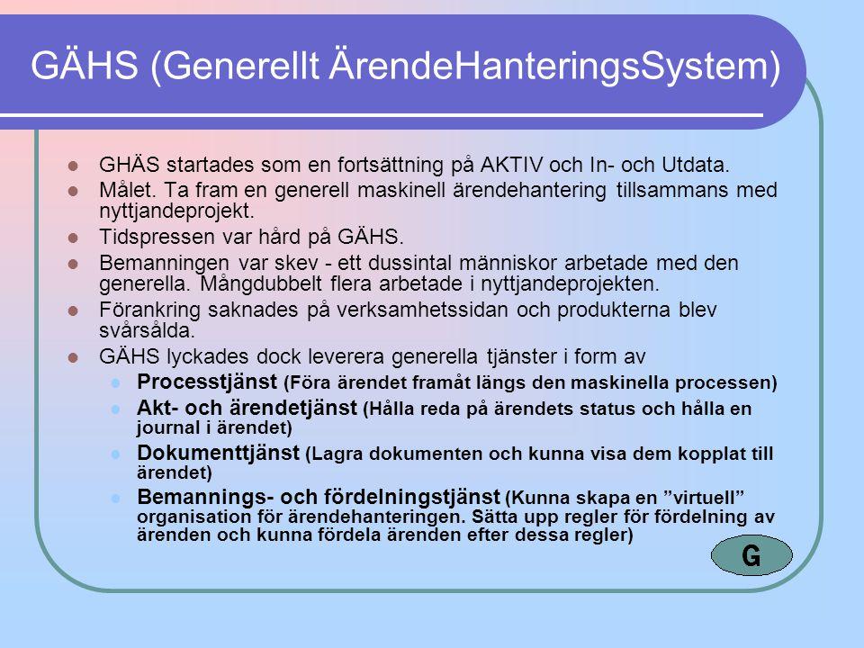 GÄHS (Generellt ÄrendeHanteringsSystem) GHÄS startades som en fortsättning på AKTIV och In- och Utdata. Målet. Ta fram en generell maskinell ärendehan