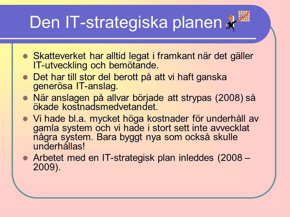 Den IT-strategiska planen 1 Skatteverket har alltid legat i framkant när det gäller IT-utveckling och bemötande. Det har till stor del berott på att v