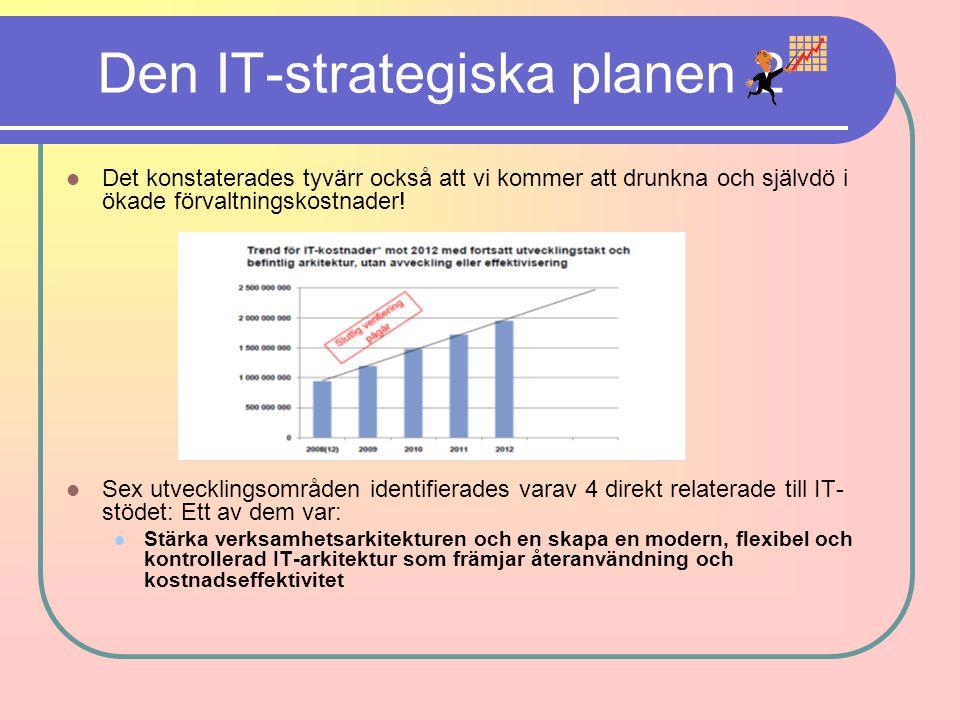 Den IT-strategiska planen 2 Det konstaterades tyvärr också att vi kommer att drunkna och självdö i ökade förvaltningskostnader! Sex utvecklingsområden