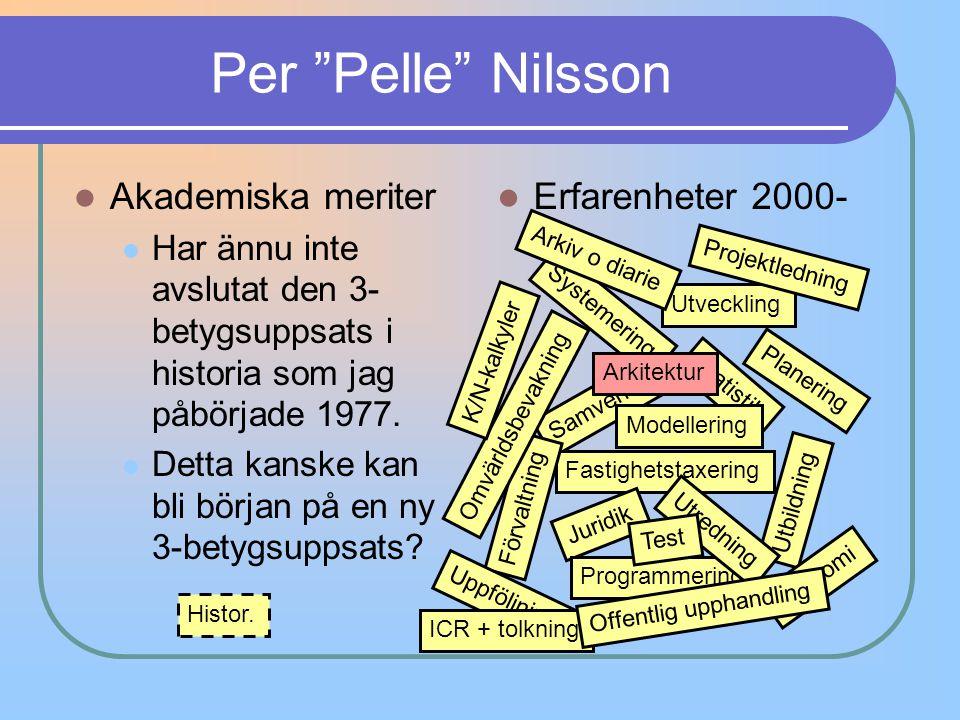"""Per """"Pelle"""" Nilsson Akademiska meriter Har ännu inte avslutat den 3- betygsuppsats i historia som jag påbörjade 1977. Detta kanske kan bli början på e"""