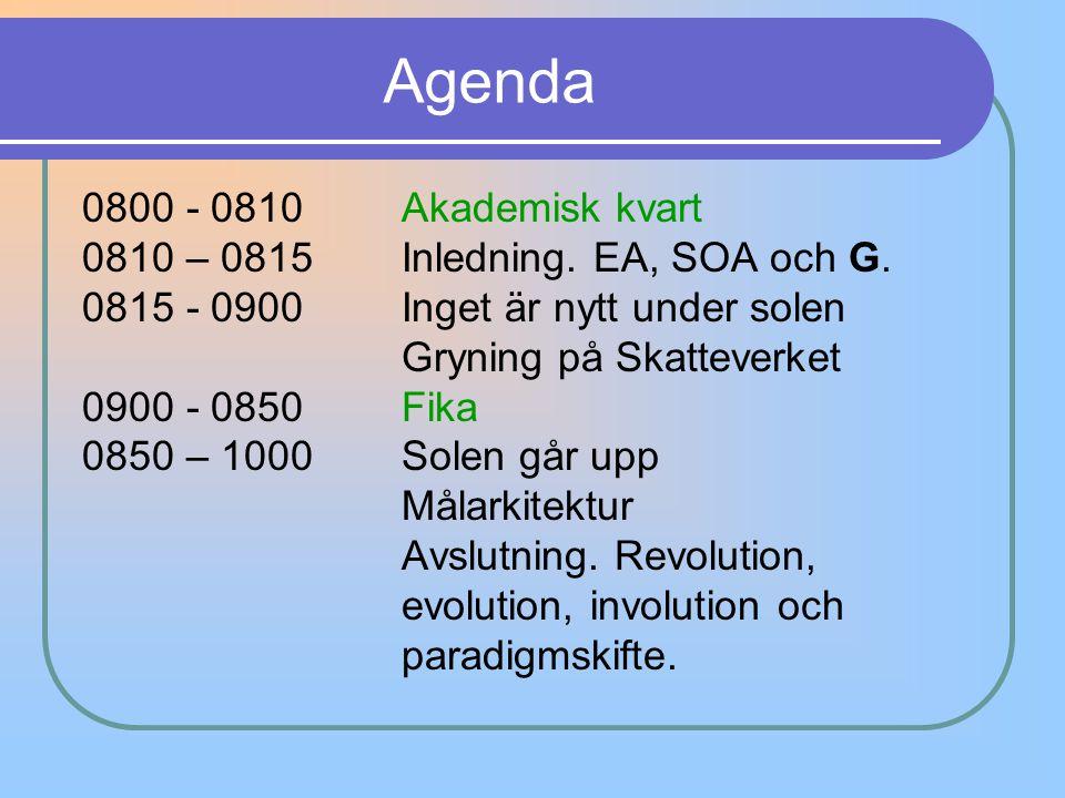 Agenda 0800 - 0810 Akademisk kvart 0810 – 0815Inledning. EA, SOA och G. 0815 - 0900 Inget är nytt under solen Gryning på Skatteverket 0900 - 0850 Fika